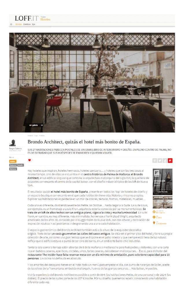 Loff It Press Brondo Architect Hotel